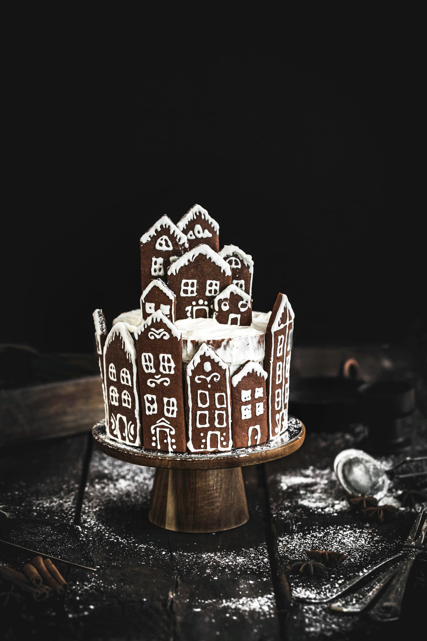Gingerbread village layer cake